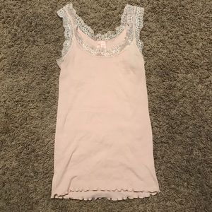Anthropologie Eloise Pink Lace Ribbed Camisole
